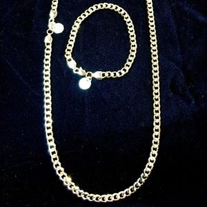 Other - CUBAN LINK 18K GOLD NEW CHAIN & BRACELET SET ITALY